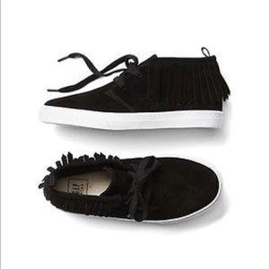 GAP Kids Boy Girl Black Suede Fringe Shoes US 4K 4